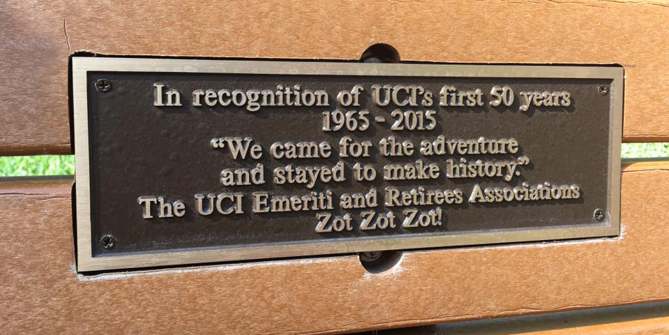 50th Anniversary Aldrich Park Bench Donation from UCIEA and UCIRA